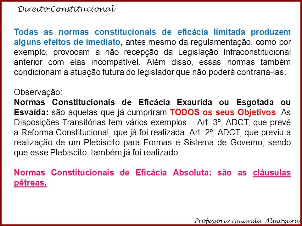 Direito Constitucional Professora Amanda Almozara 21 Todas as normas constitucionais de eficácia limitada produzem alguns efeitos de imediato, antes m
