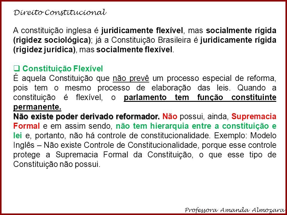 Direito Constitucional Professora Amanda Almozara 7  Semirrígida ou Semiflexível É uma Constituição parcialmente rígida e parcialmente flexível.