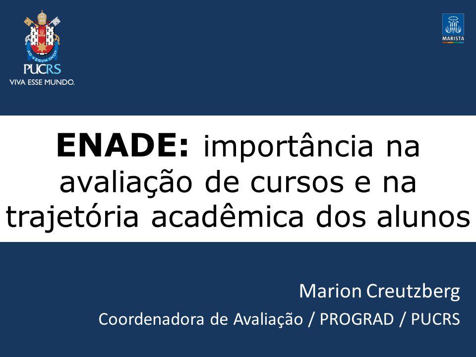 ENADE: importância na avaliação de cursos e na trajetória acadêmica dos alunos Marion Creutzberg Coordenadora de Avaliação / PROGRAD / PUCRS