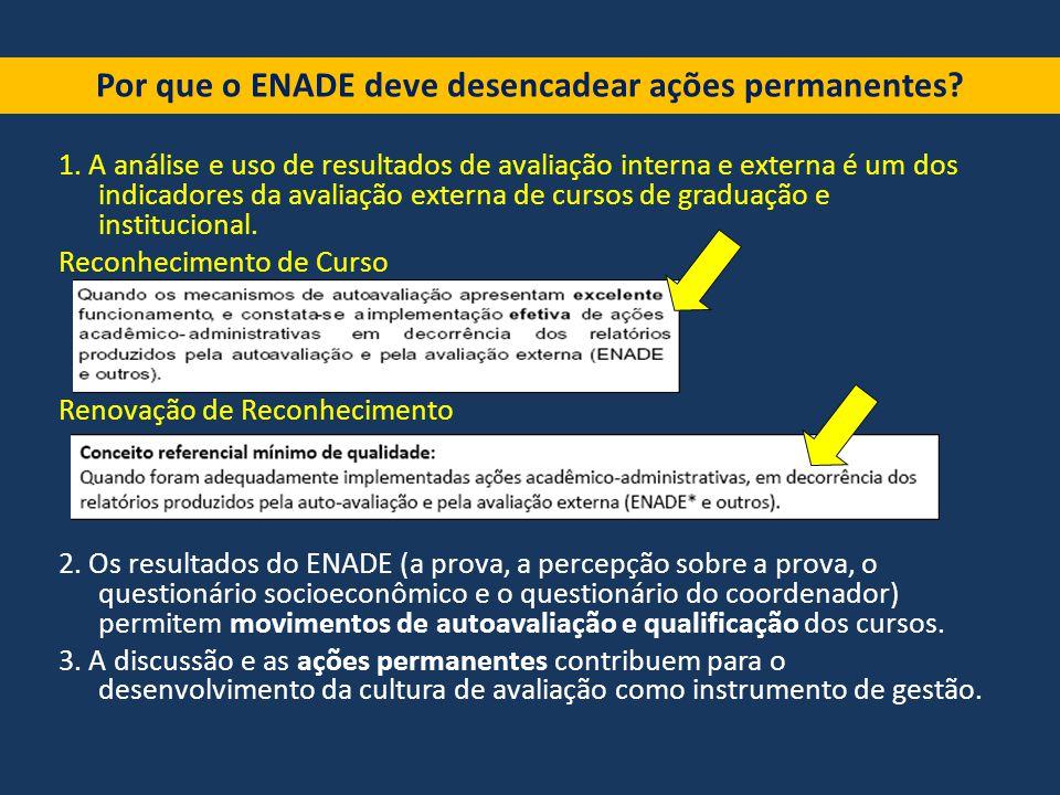 1. A análise e uso de resultados de avaliação interna e externa é um dos indicadores da avaliação externa de cursos de graduação e institucional. Reco