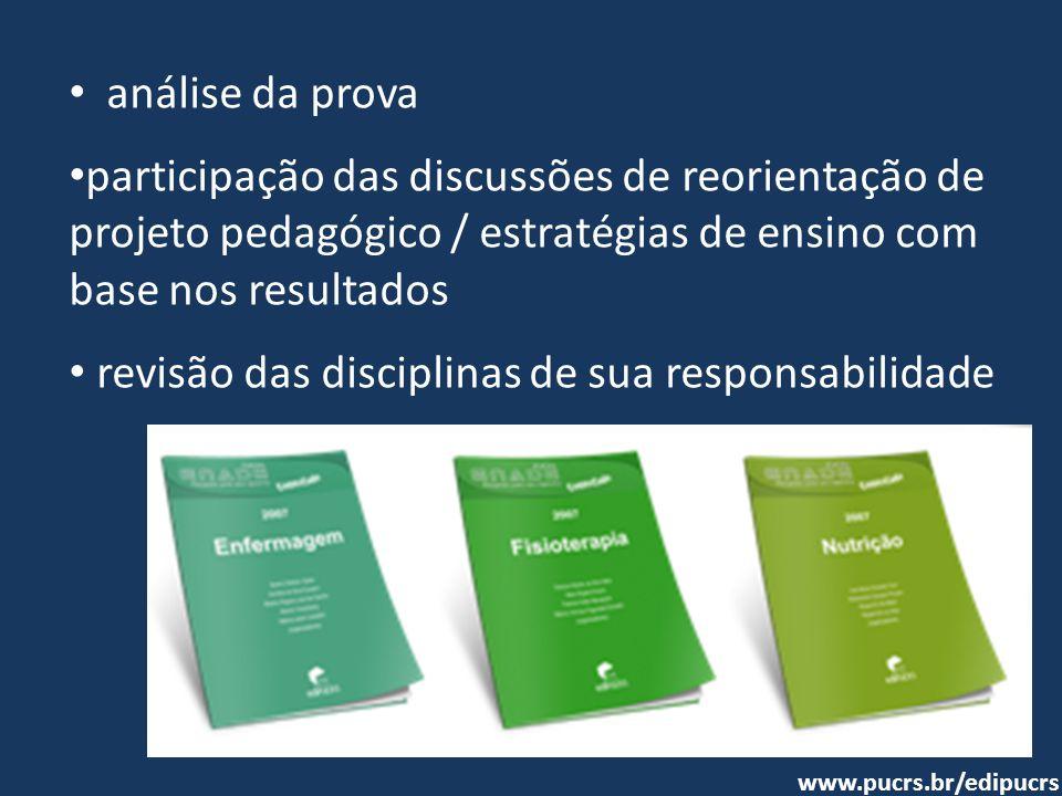 • análise da prova • participação das discussões de reorientação de projeto pedagógico / estratégias de ensino com base nos resultados • revisão das d