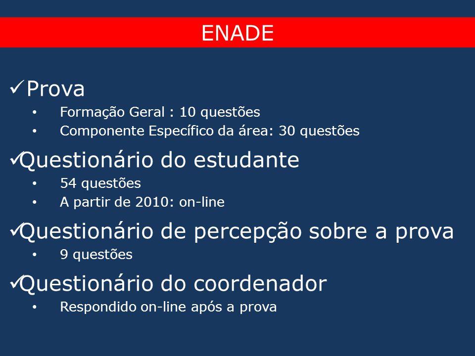  Prova • Formação Geral : 10 questões • Componente Específico da área: 30 questões  Questionário do estudante • 54 questões • A partir de 2010: on-l