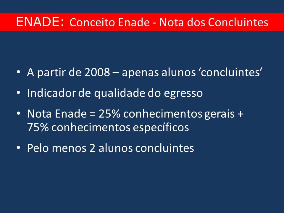 • A partir de 2008 – apenas alunos 'concluintes' • Indicador de qualidade do egresso • Nota Enade = 25% conhecimentos gerais + 75% conhecimentos espec