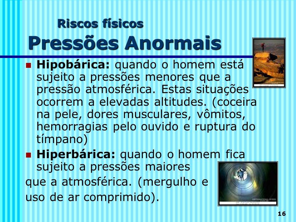 16 Riscos físicos Pressões Anormais  Hipobárica: quando o homem está sujeito a pressões menores que a pressão atmosférica. Estas situações ocorrem a