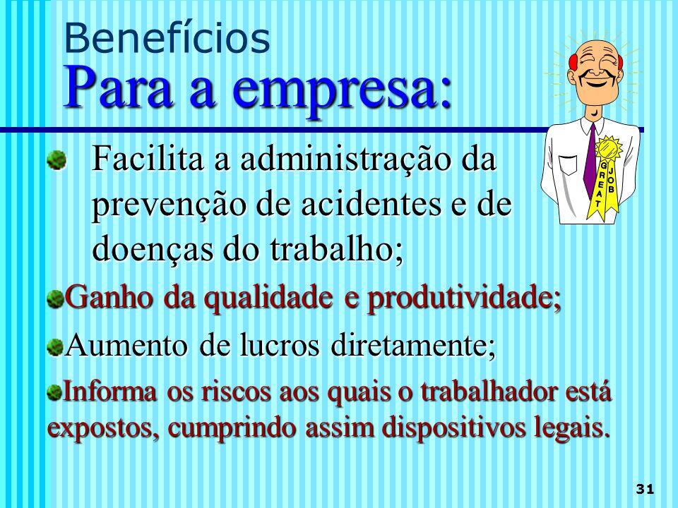 31 Para a empresa: Benefícios Para a empresa: Facilita a administração da prevenção de acidentes e de doenças do trabalho; Ganho da qualidade e produt