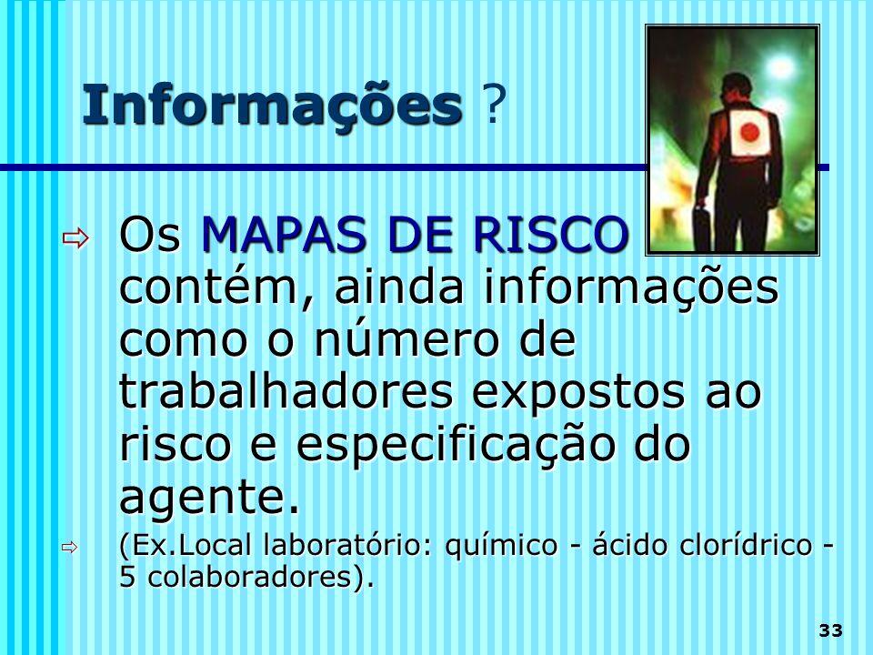 33 Informações Informações ?  Os MAPAS DE RISCO contém, ainda informações como o número de trabalhadores expostos ao risco e especificação do agente.
