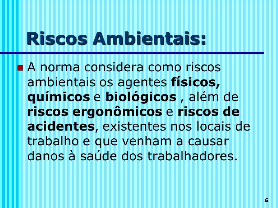 6 Riscos Ambientais:  A norma considera como riscos ambientais os agentes físicos, químicos e biológicos, além de riscos ergonômicos e riscos de acid
