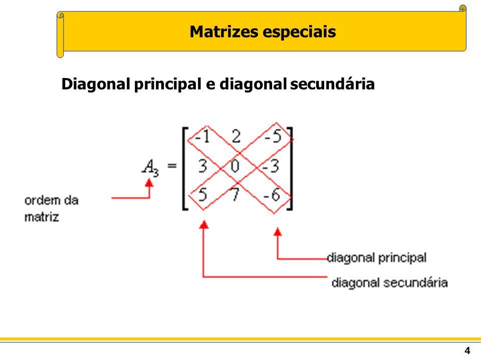 5 Matrizes especiais Matriz linha Matriz do tipo 1 x n, ou seja, com uma única linha.
