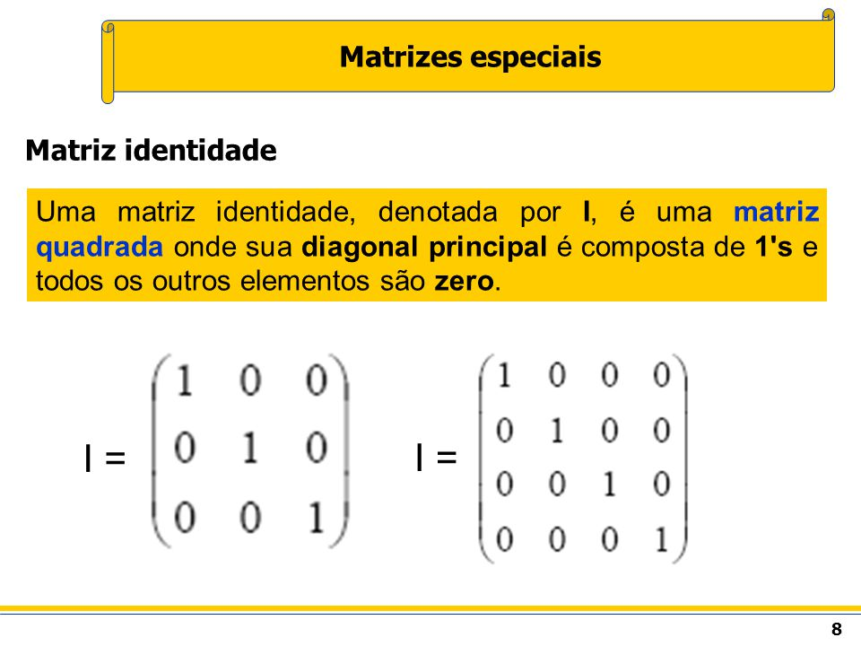 9 Matrizes especiais A transposta de uma matriz é a matriz obtida pela troca das linhas pelas colunas da matriz original, de modo que a coluna j da matriz original passe a ser a linha j da matriz transposta e a linha i da matriz original passe a ser a coluna i da matriz transposta.