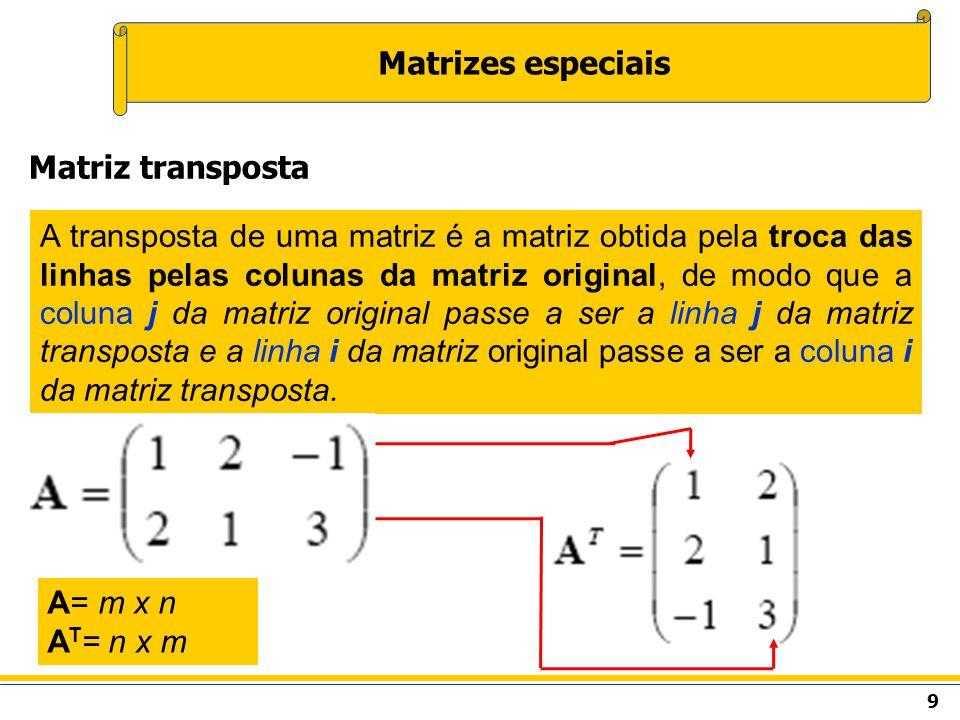 10 Matrizes especiais Uma matriz é dita simétrica se ela for igual à sua transposta.