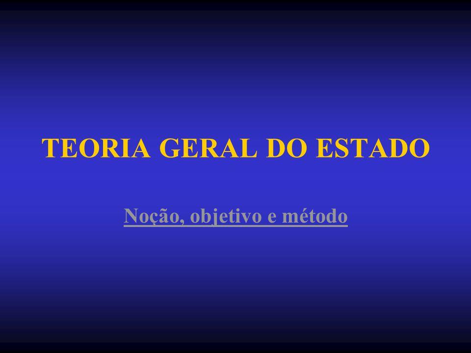 TEORIA GERAL DO ESTADO Noção, objetivo e método