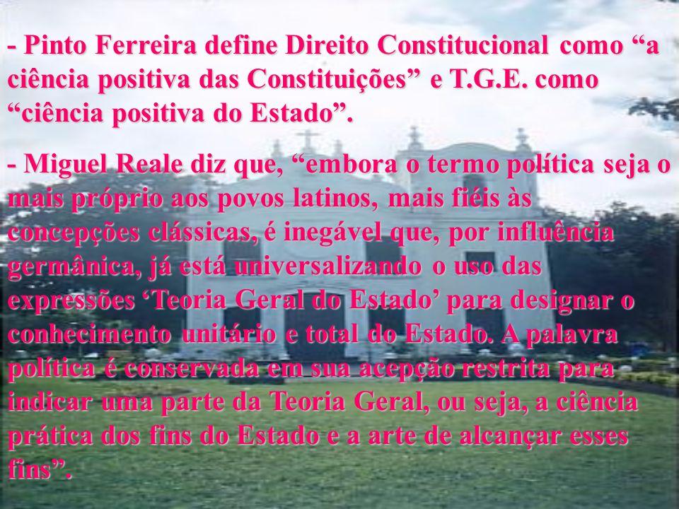 - Pedro Calmon conceitua T.G.E. como estudo de estrutura do Estado, sob aspectos jurídico, sociológico e histórico. - Orlando Carvalho, depois de acen