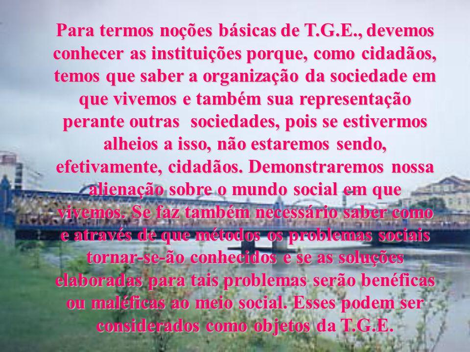 Para termos noções básicas de T.G.E., devemos conhecer as instituições porque, como cidadãos, temos que saber a organização da sociedade em que vivemos e também sua representação perante outras sociedades, pois se estivermos alheios a isso, não estaremos sendo, efetivamente, cidadãos.