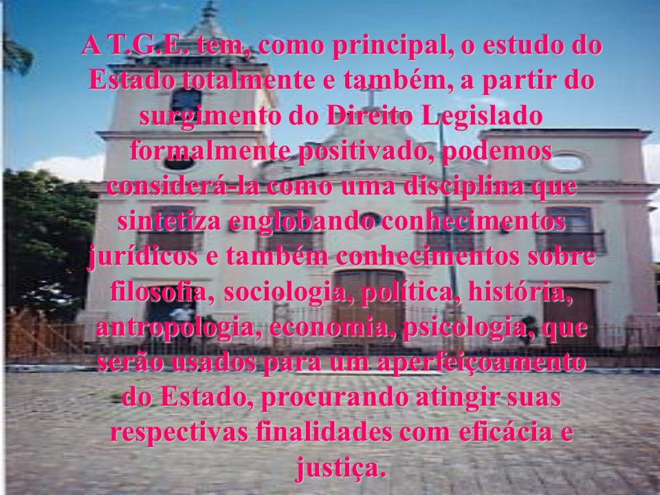 Para termos noções básicas de T.G.E., devemos conhecer as instituições porque, como cidadãos, temos que saber a organização da sociedade em que vivemo