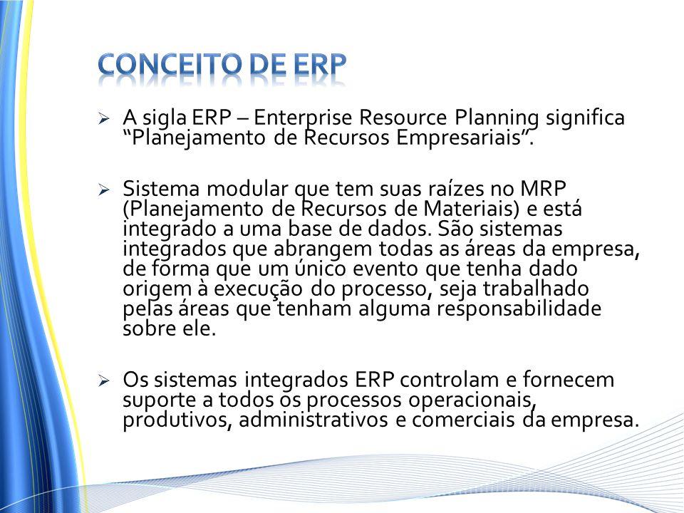 """ A sigla ERP – Enterprise Resource Planning significa """"Planejamento de Recursos Empresariais"""".  Sistema modular que tem suas raízes no MRP (Planejam"""