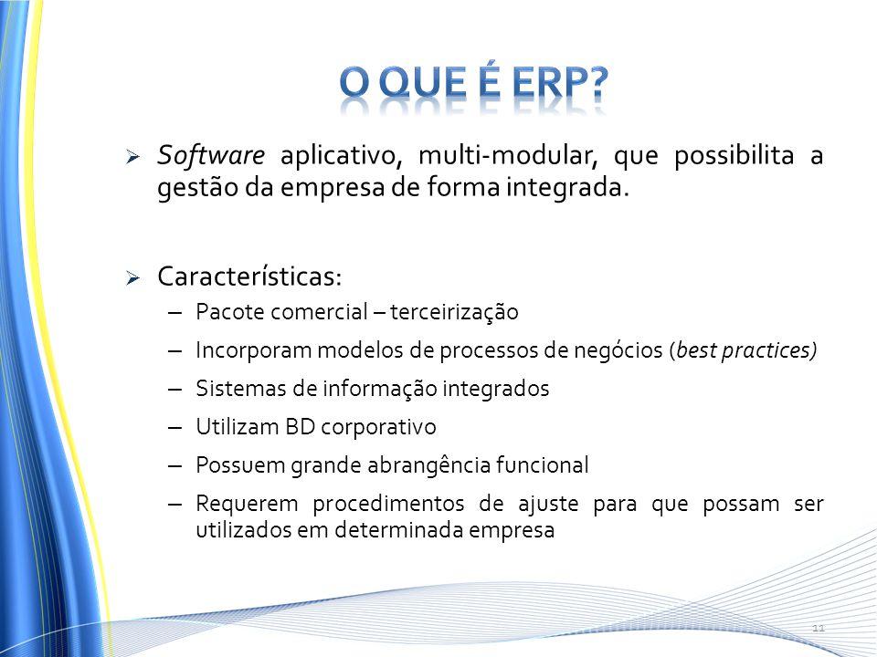  Software aplicativo, multi-modular, que possibilita a gestão da empresa de forma integrada.  Características: – Pacote comercial – terceirização –