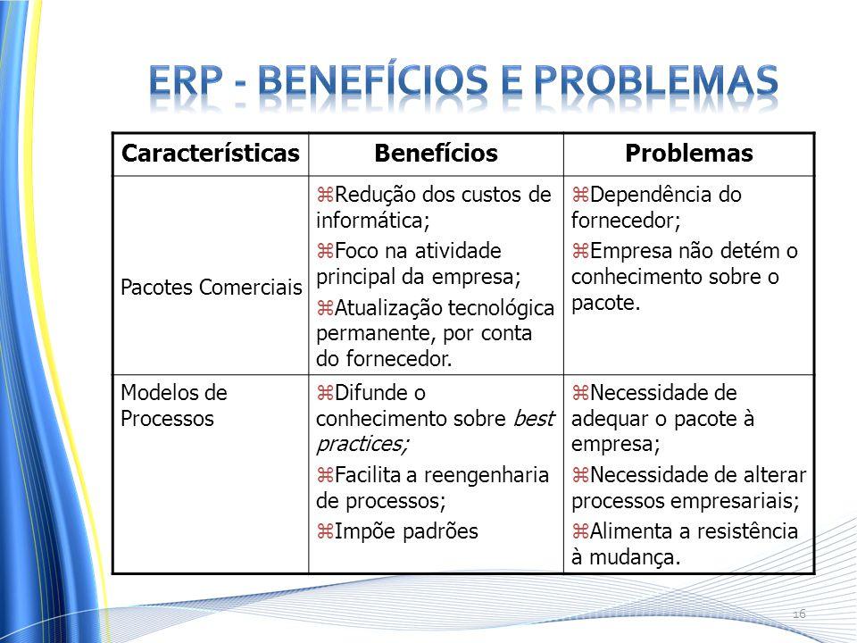 CaracterísticasBenefíciosProblemas Pacotes Comerciais zRedução dos custos de informática; zFoco na atividade principal da empresa; zAtualização tecnológica permanente, por conta do fornecedor.