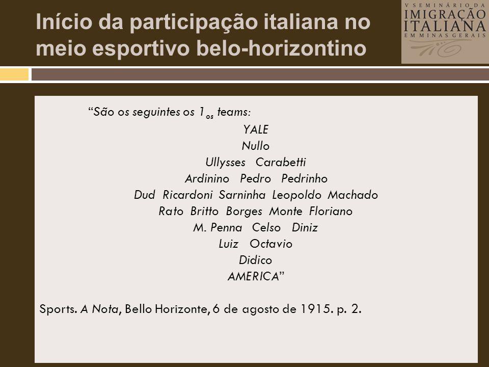 Início da participação italiana no meio esportivo belo-horizontino • Presença crescente de atletas de origem italiana no meio esportivo local. • Aquis