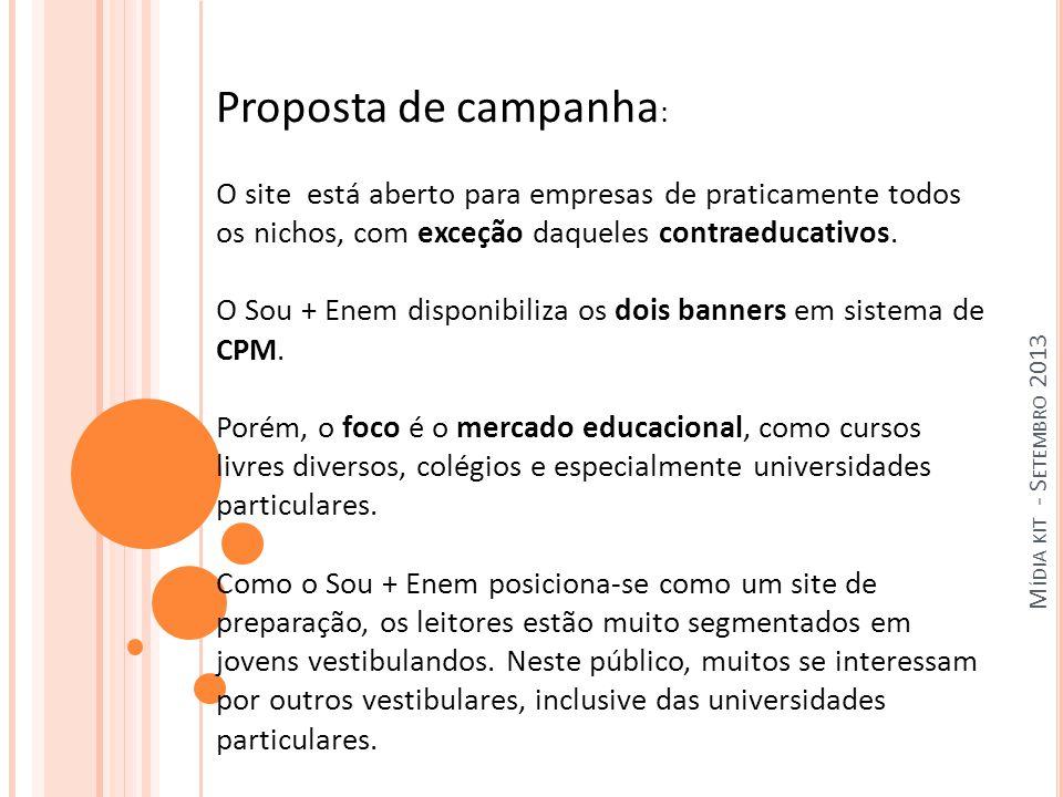 M ÍDIA KIT - S ETEMBRO 2013 Proposta de campanha : O site está aberto para empresas de praticamente todos os nichos, com exceção daqueles contraeducativos.