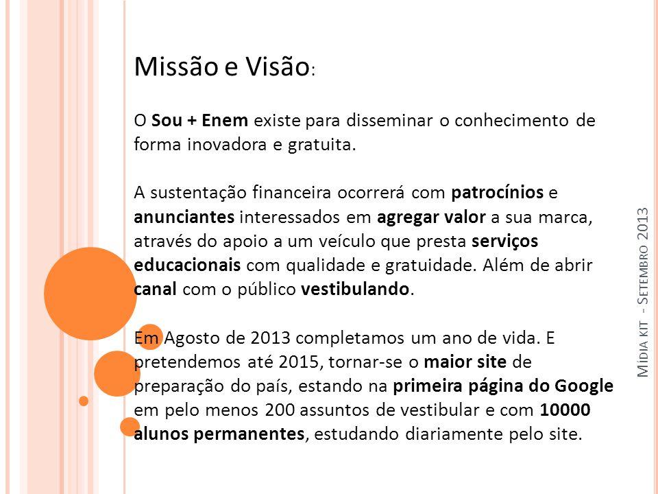M ÍDIA KIT - S ETEMBRO 2013 Missão e Visão : O Sou + Enem existe para disseminar o conhecimento de forma inovadora e gratuita.