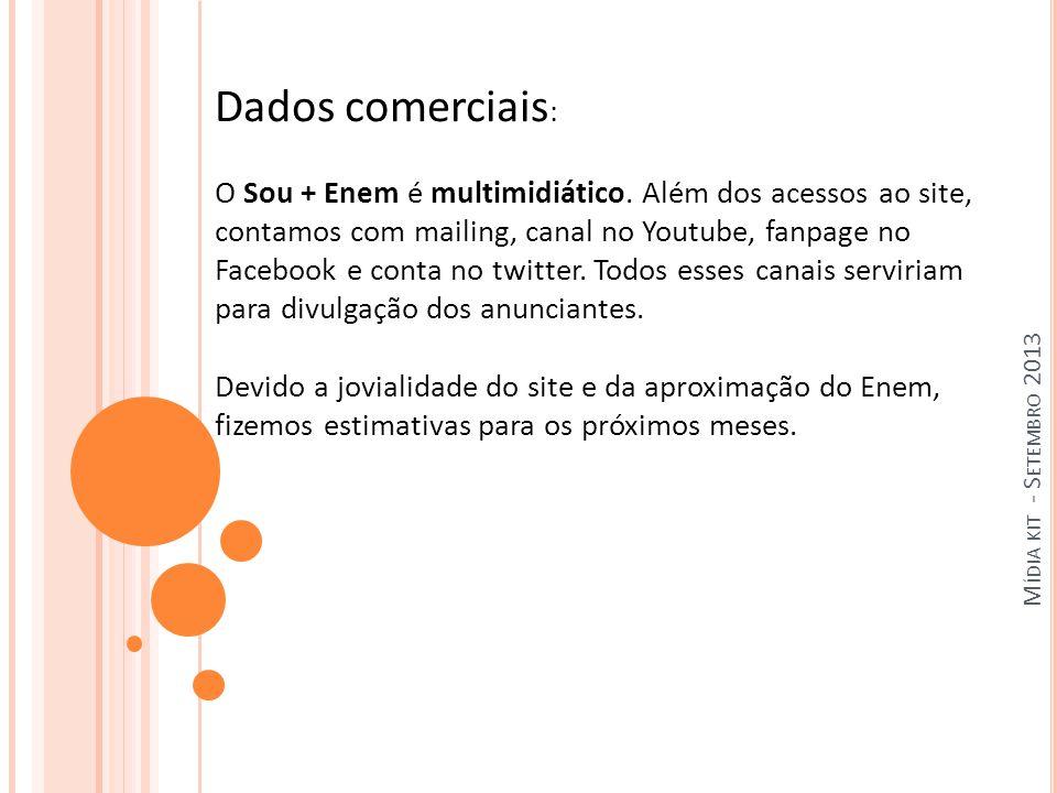 M ÍDIA KIT - S ETEMBRO 2013 Dados comerciais : O Sou + Enem é multimidiático.