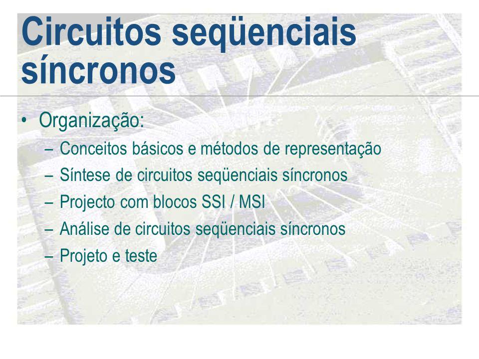 Circuitos seqüenciais síncronos •Organização: –Conceitos básicos e métodos de representação –Síntese de circuitos seqüenciais síncronos –Projecto com