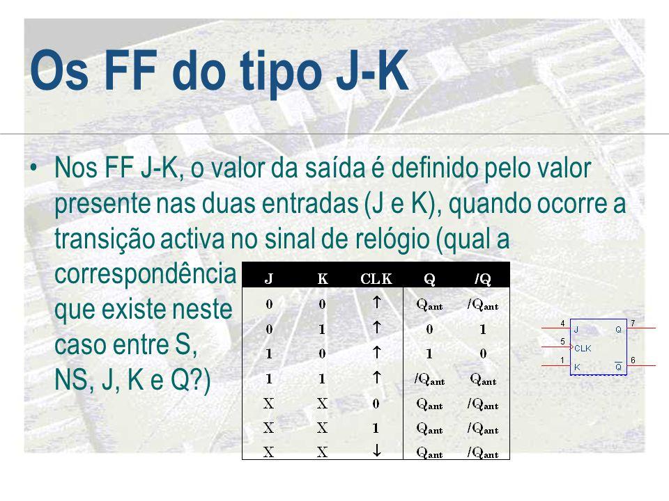 Os FF do tipo J-K •Nos FF J-K, o valor da saída é definido pelo valor presente nas duas entradas (J e K), quando ocorre a transição activa no sinal de