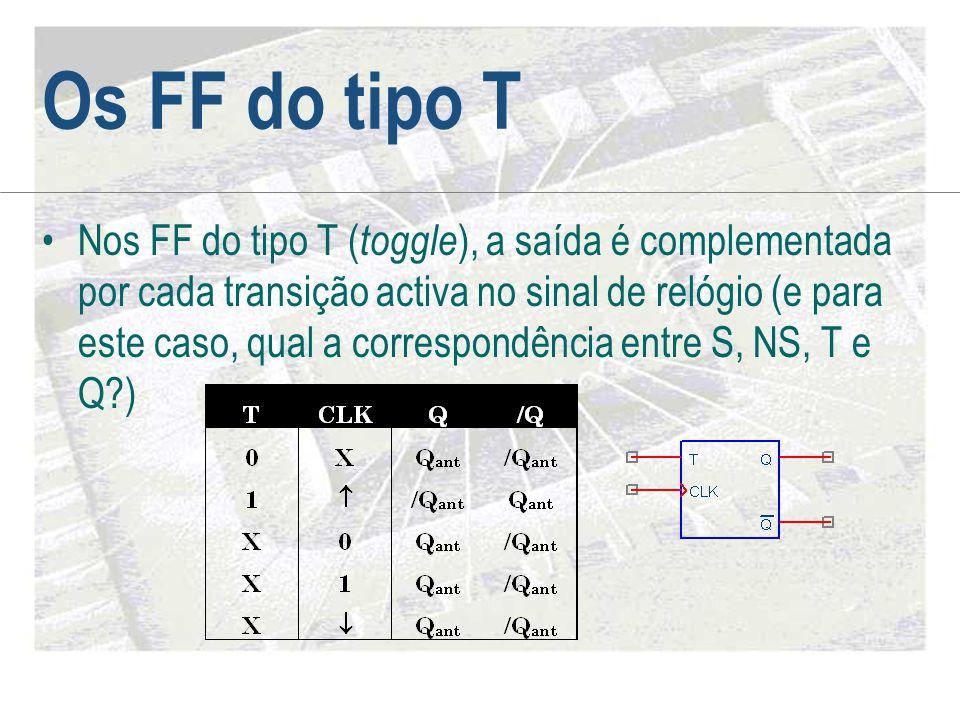 Os FF do tipo T •Nos FF do tipo T ( toggle ), a saída é complementada por cada transição activa no sinal de relógio (e para este caso, qual a correspo