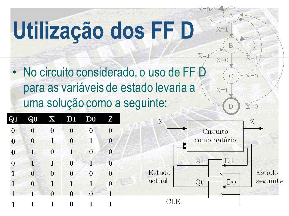 Utilização dos FF D •No circuito considerado, o uso de FF D para as variáveis de estado levaria a uma solução como a seguinte: