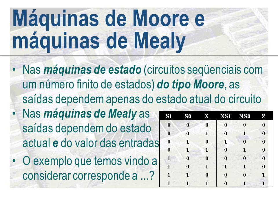 Máquinas de Moore e máquinas de Mealy •Nas máquinas de estado (circuitos seqüenciais com um número finito de estados) do tipo Moore, as saídas depende