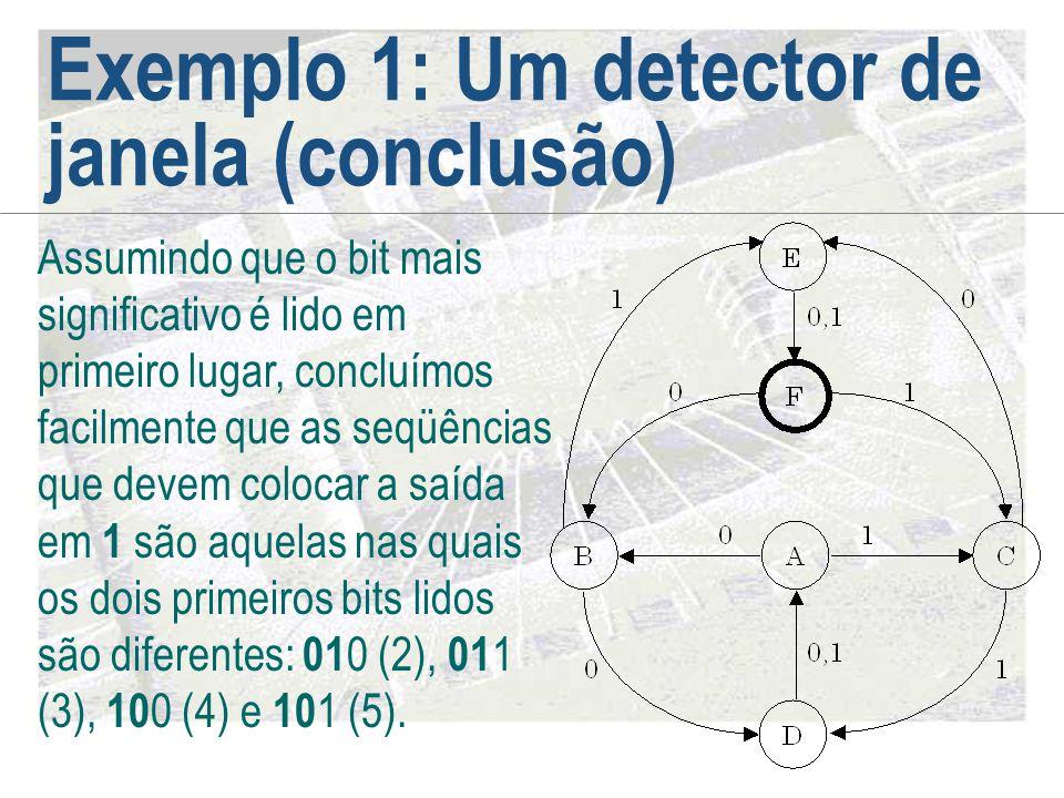 Exemplo 1: Um detector de janela (conclusão) Assumindo que o bit mais significativo é lido em primeiro lugar, concluímos facilmente que as seqüências