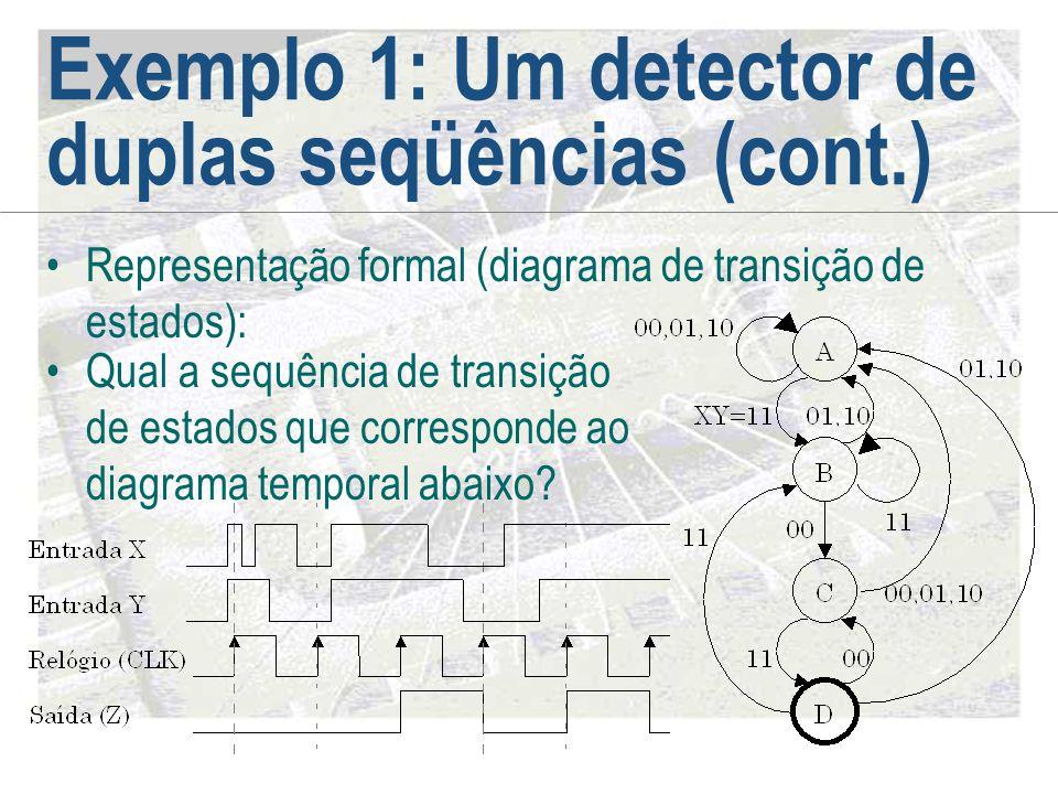Exemplo 1: Um detector de duplas seqüências (cont.) •Representação formal (diagrama de transição de estados): •Qual a sequência de transição de estado