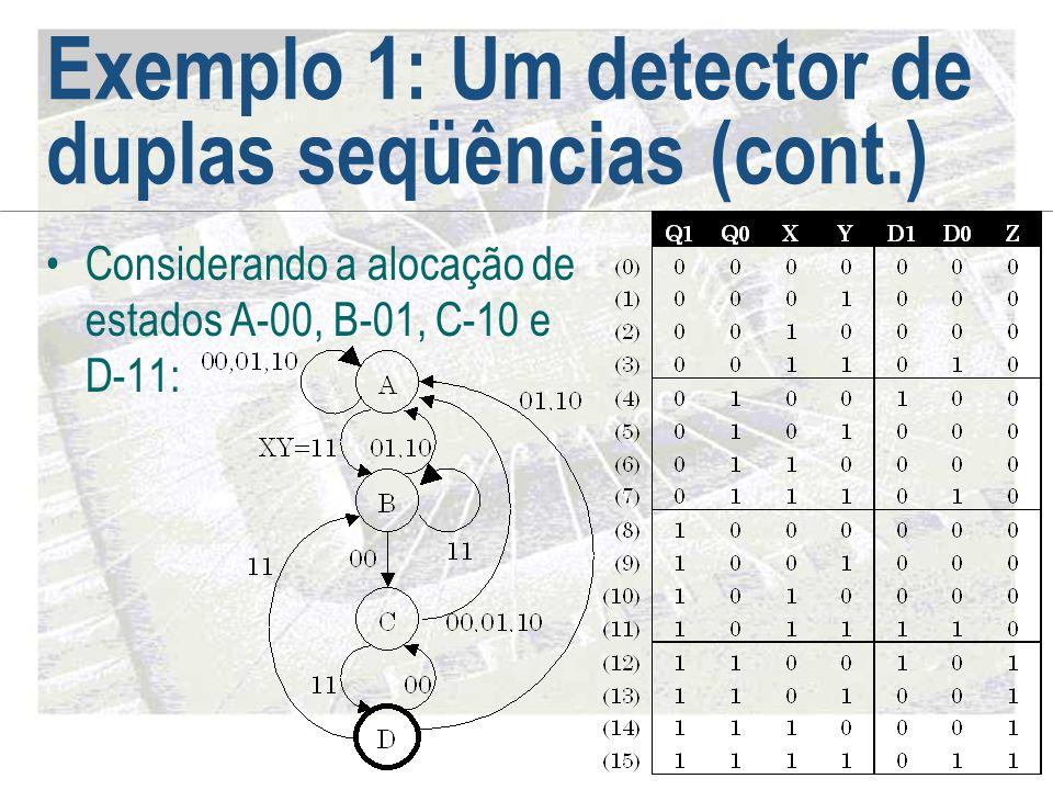 Exemplo 1: Um detector de duplas seqüências (cont.) •Considerando a alocação de estados A-00, B-01, C-10 e D-11: