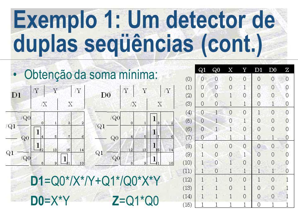 Exemplo 1: Um detector de duplas seqüências (cont.) •Obtenção da soma mínima: Z =Q1*Q0 D1 =Q0*/X*/Y+Q1*/Q0*X*Y D0 =X*Y