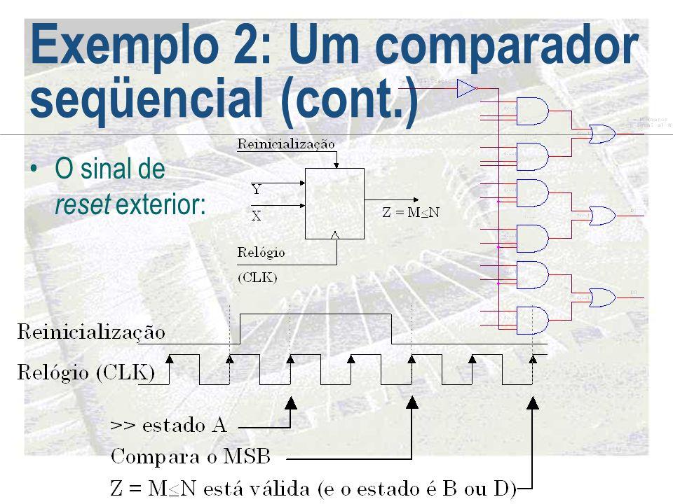Exemplo 2: Um comparador seqüencial (cont.) •O sinal de reset exterior: