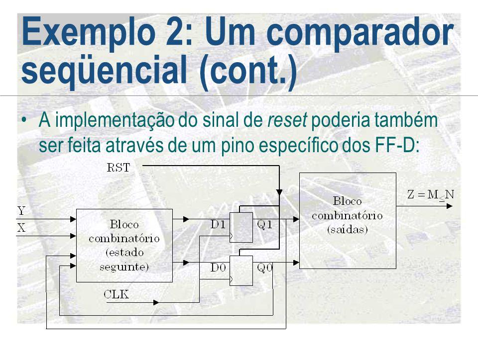 Exemplo 2: Um comparador seqüencial (cont.) •A implementação do sinal de reset poderia também ser feita através de um pino específico dos FF-D: