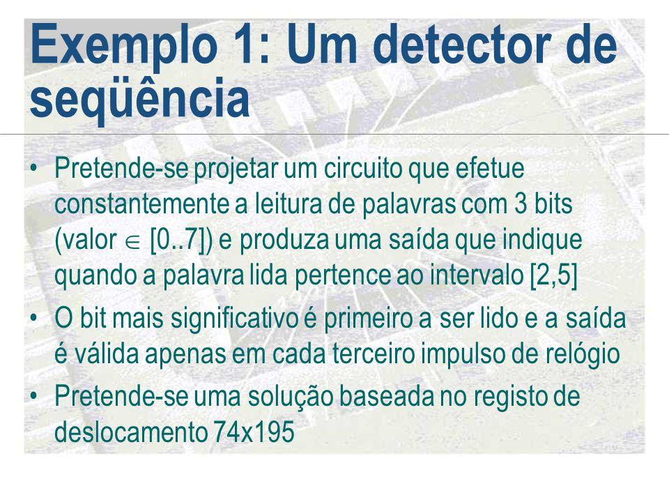 Exemplo 1: Um detector de seqüência •Pretende-se projetar um circuito que efetue constantemente a leitura de palavras com 3 bits (valor  [0..7]) e pr