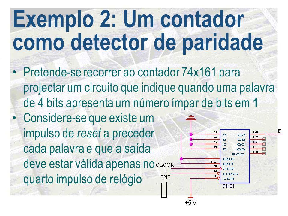 Exemplo 2: Um contador como detector de paridade •Pretende-se recorrer ao contador 74x161 para projectar um circuito que indique quando uma palavra de