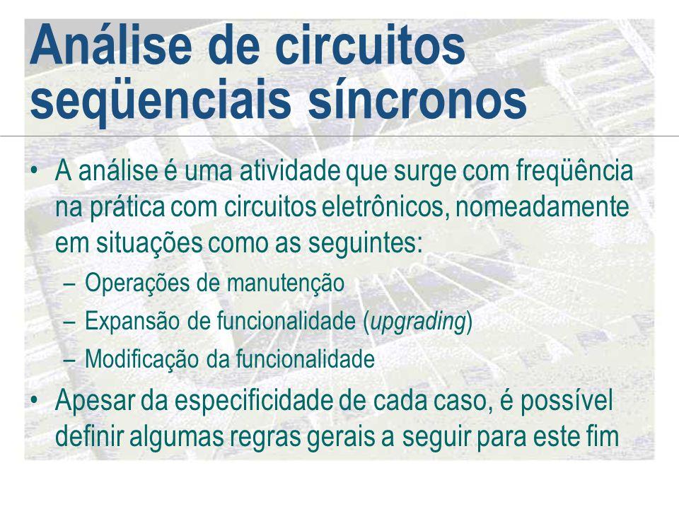 Análise de circuitos seqüenciais síncronos •A análise é uma atividade que surge com freqüência na prática com circuitos eletrônicos, nomeadamente em s