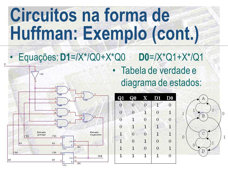 Circuitos na forma de Huffman: Exemplo (cont.) •Equações: D1 =/X*/Q0+X*Q0 D0 =/X*Q1+X*/Q1 •Tabela de verdade e diagrama de estados: