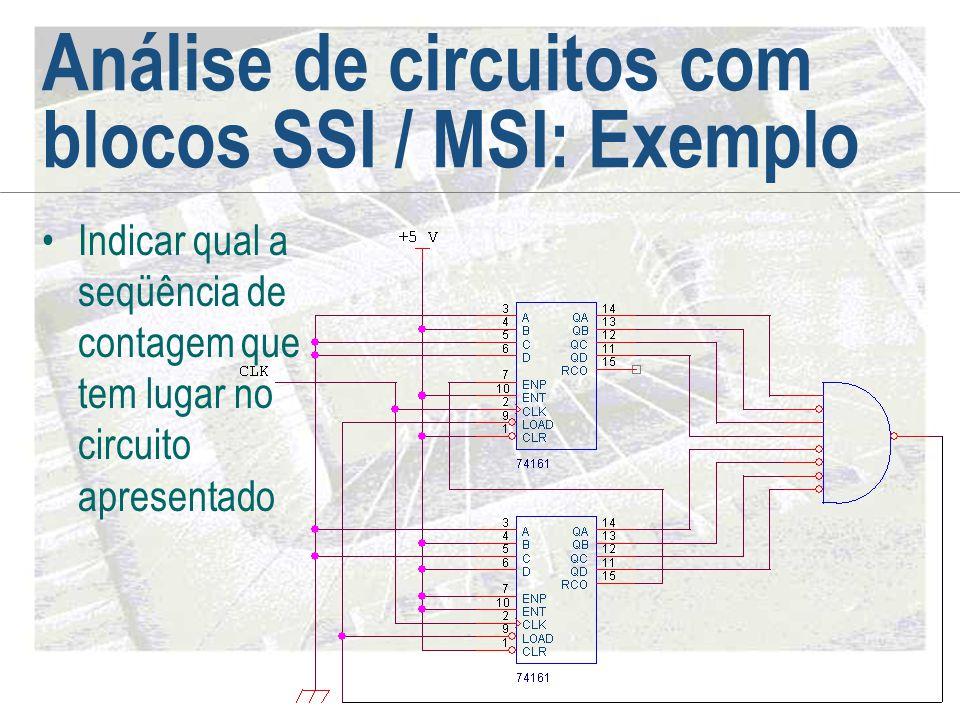 Análise de circuitos com blocos SSI / MSI: Exemplo •Indicar qual a seqüência de contagem que tem lugar no circuito apresentado