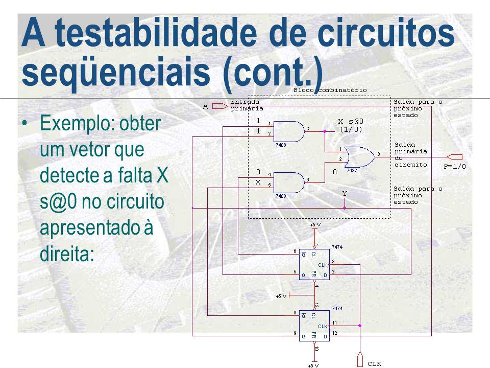 A testabilidade de circuitos seqüenciais (cont.) •Exemplo: obter um vetor que detecte a falta X s@0 no circuito apresentado à direita: