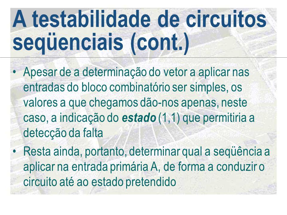 A testabilidade de circuitos seqüenciais (cont.) •Apesar de a determinação do vetor a aplicar nas entradas do bloco combinatório ser simples, os valor