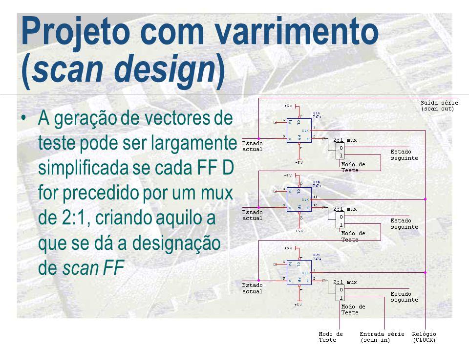 Projeto com varrimento ( scan design ) •A geração de vectores de teste pode ser largamente simplificada se cada FF D for precedido por um mux de 2:1,