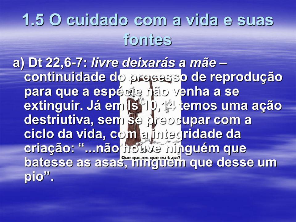 1.5 O cuidado com a vida e suas fontes a) Dt 22,6-7: livre deixarás a mãe – continuidade do processo de reprodução para que a espécie não venha a se e