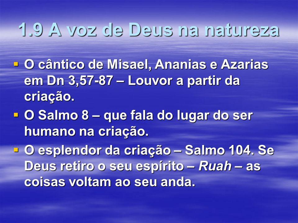 1.9 A voz de Deus na natureza  O cântico de Misael, Ananias e Azarias em Dn 3,57-87 – Louvor a partir da criação.  O Salmo 8 – que fala do lugar do