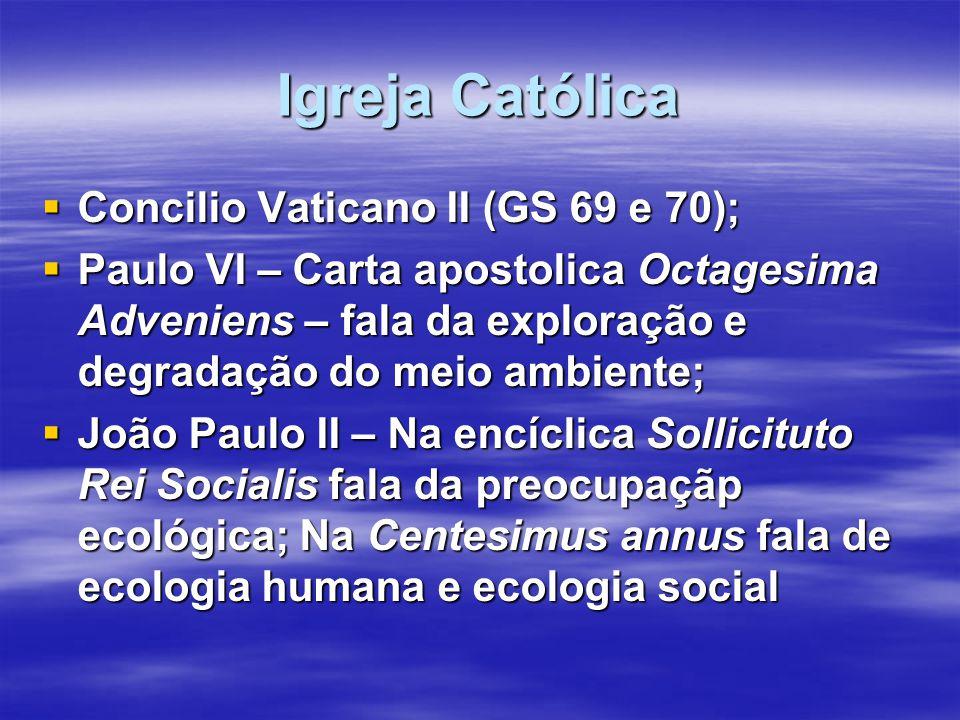 Igreja Católica  Concilio Vaticano II (GS 69 e 70);  Paulo VI – Carta apostolica Octagesima Adveniens – fala da exploração e degradação do meio ambi