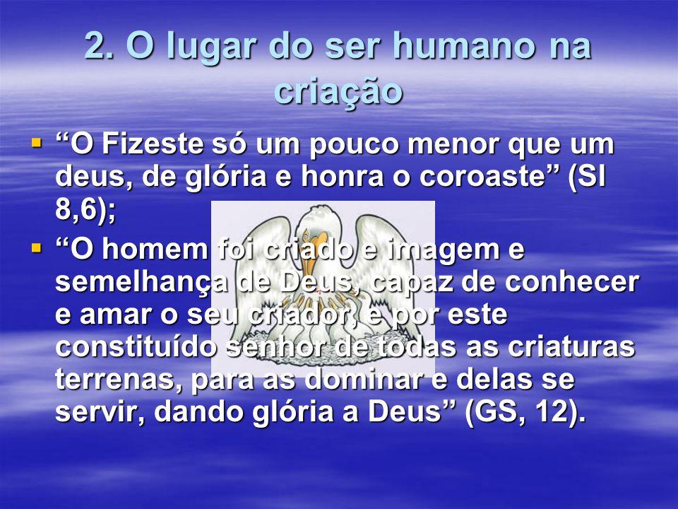 """2. O lugar do ser humano na criação  """"O Fizeste só um pouco menor que um deus, de glória e honra o coroaste"""" (Sl 8,6);  """"O homem foi criado e imagem"""