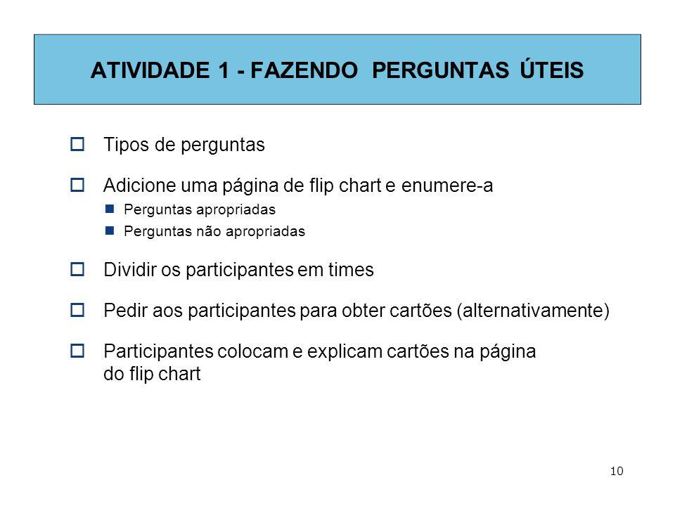 ATIVIDADE 1 - FAZENDO PERGUNTAS ÚTEIS  Tipos de perguntas  Adicione uma página de flip chart e enumere-a  Perguntas apropriadas  Perguntas não apropriadas  Dividir os participantes em times  Pedir aos participantes para obter cartões (alternativamente)  Participantes colocam e explicam cartões na página do flip chart 10