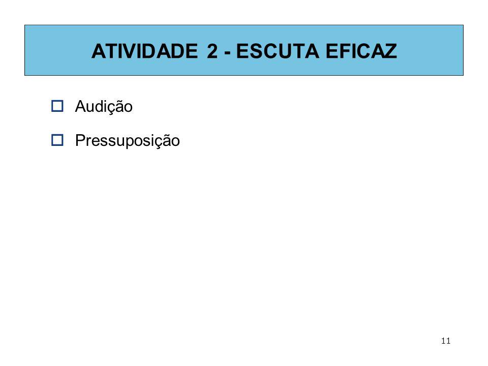 11 ATIVIDADE 2 - ESCUTA EFICAZ  Audição  Pressuposição